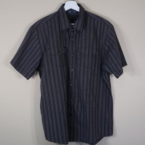Vertical Stripe Gray Short-Sleeve Casual Button-Up